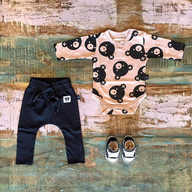 Huxbaby organic Hux Bear onesie, raw hem drop crotch pants & Converse baby Chucks, all available in store & online.  www.tinystyle.com.au/Shop-Insta   #babyclothes #organiccotton #huxbaby #tinystyle
