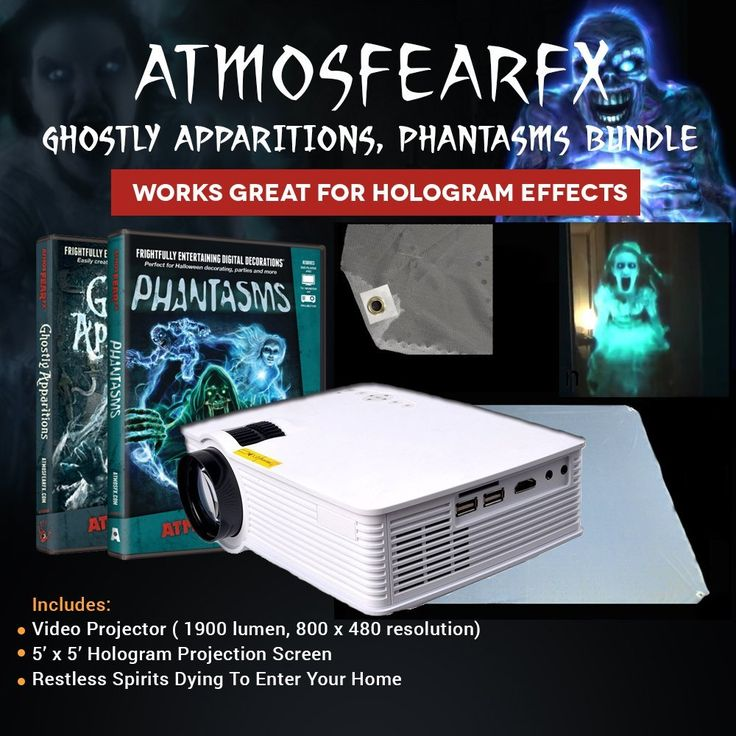 Includes everything seen in image. Includes 2 DVD videos seen in image. Amazing Halloween videos Projector has a 800 x 480 Resolution with 1900 lumens Easy setup Projection Screen