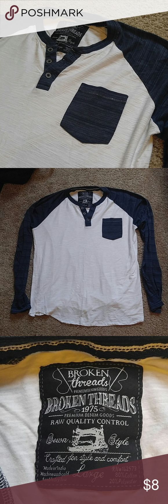 Long Sleeve Top Blue and white long sleeved shirt, size large. Excellent condition. Broken Threads Tops Tees - Long Sleeve