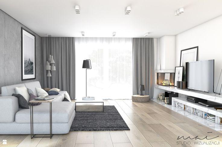 Dom jednorodzinny №2 - zdjęcie od MAI - studio wizualizacji - Salon - Styl Nowoczesny - MAI - studio wizualizacji