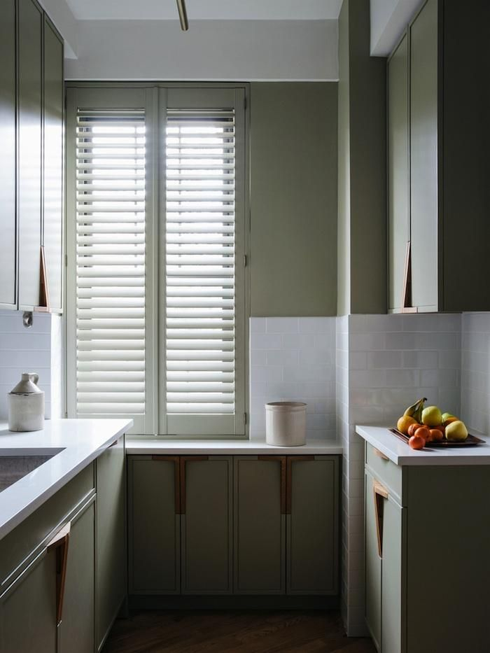 Farrow and Ball French Gray, painted kitchen cabinets, shutters, white subway tile