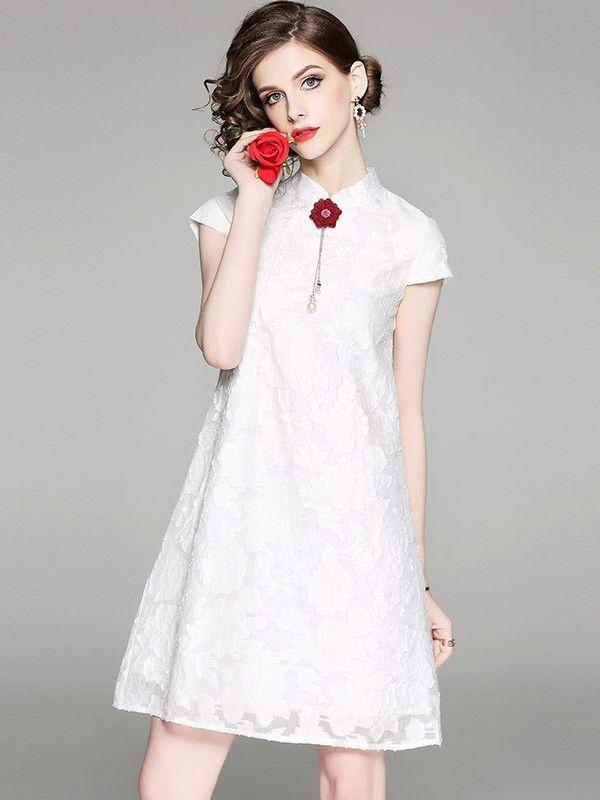 A-Line Lace Qipao / Cheongsam Wedding Guest Dress
