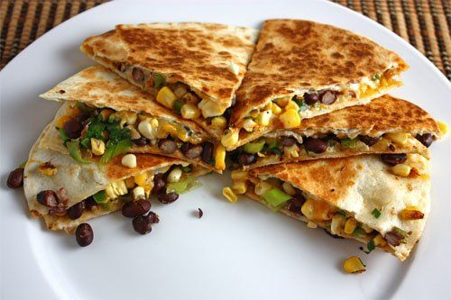 Corn and Black Bean Quesadillas (Corn Tortillas, Jack Cheese, Shredded Chicken, Corn and Black Bean Salsa with Diced Tomatoes, Lime Juice, Salt and Pepper) [Made July 15, 2012]