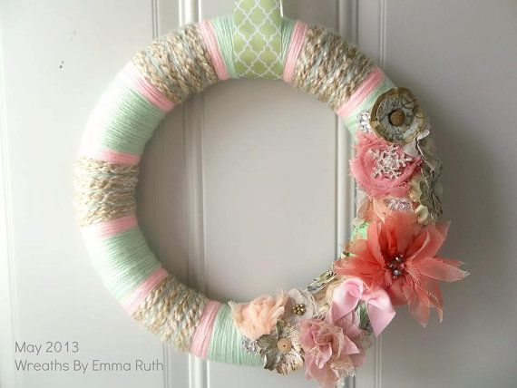 Hey, I found this really awesome Etsy listing at http://www.etsy.com/listing/152395238/shabby-chic-yarn-wreath-in-mint-green