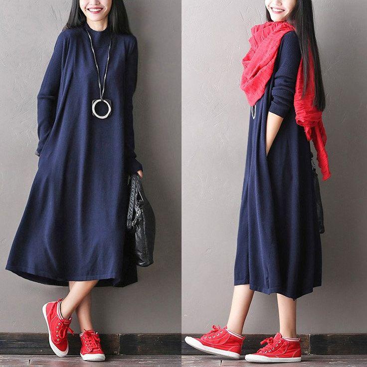 Soft Loose Casual Wool Long Dresses Women Clothes Q1418A