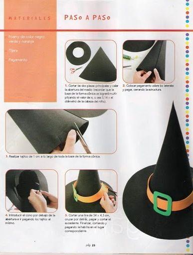 Pequeña Bruja, un sombrero picudo para un disfraz de bruja, cartulina, foam o goma espuma. Sombrero de bruja con moldes