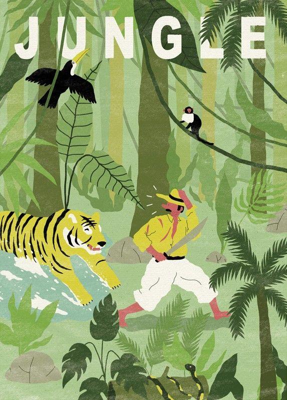 Affiche Jungle - Aventure - Simon Bailly - Chambre garçon