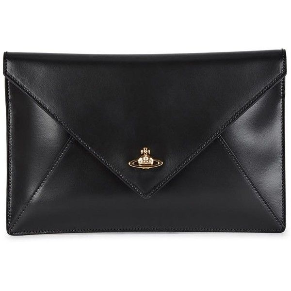 Womens Clutches Vivienne Westwood Private Black Leather Clutch found on Polyvore
