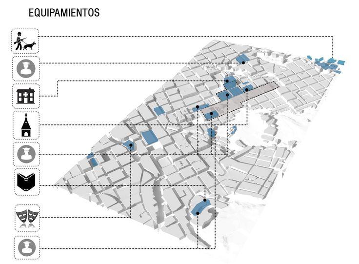 Segundo Lugar en concurso nacional UVA Orfelinato / Medellín, Colombia,Esquema: equipamientos. Image Courtesy of Labranza Arquitectura S.A.S.