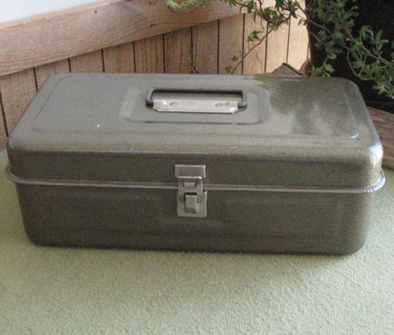 Small Metal Toolbox Tool Chest Latched Double Tray by LazyYVintage