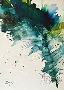 Alcohol Ink Painting - Fancy Feather by Marcia Breznay
