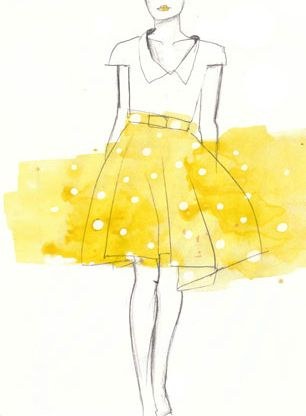 Adorable illustration by Gemma Milly. Love the splash of yellow to show the simple polka dot skirt.
