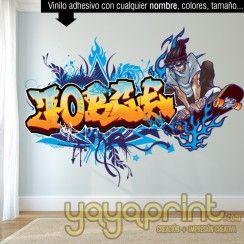 Graffiti de nombre decorar habitación cuarto dormitorio infantil juvenil adolescente niño mural decoración vinilo Madrid Barcelona Yayaprint