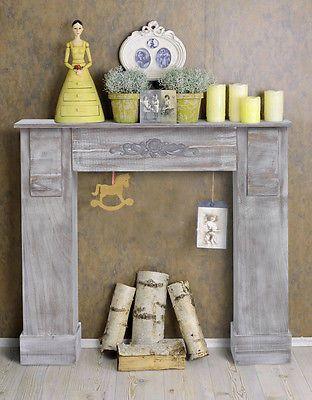 Mobili Rebecca® Cornice Decorativa Camino Legno Grigio Retro Sala Arredo Casa