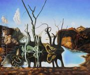 Swans Reflecting Elephants  by Salvador Dali (after)