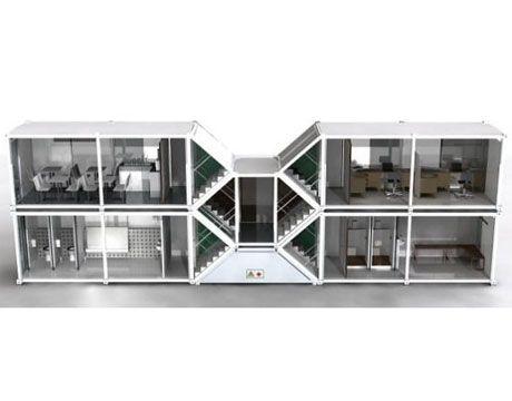 Dublin-based designer Richard Barnwall envisioned this design, dubbed the LiNX, as a temporary structure for construction workers. The two-storey model pictured is to be comprised of four 20-foot containers. Such designs offer flexibility and rapid deployment, and may even work for more permanent homes. - PopularMechanics.com