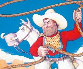 Rabbit Ears Audio stories are fabulous.  They are read by famous actors and the quality is great.  There are also DVDs but we check out the CDs from our library to listen.  Pecos Bill is done by Robin Williams - you can imagine! Also available as a book.