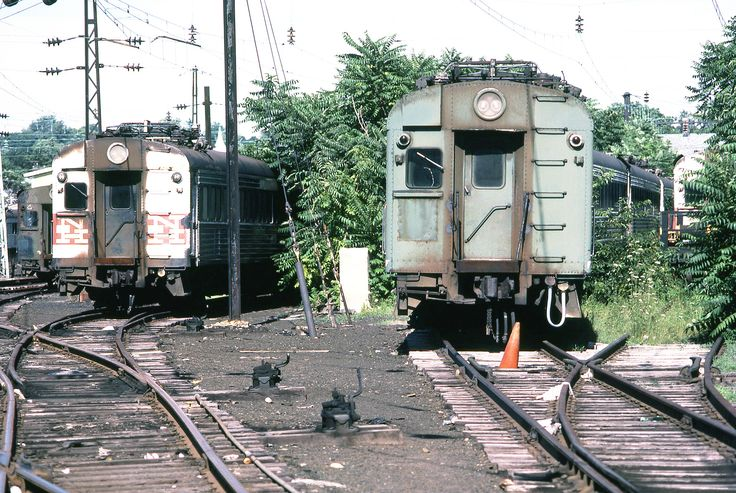 Metro North Railroad (former New Haven) railroad yard location displaying various old washboard 4400 series electric MU cars in storage at Stamford, Connecticut, August 1982 | by alcomike43