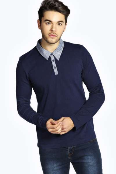 Long Sleeve Chambray Collar Polo at boohoo.com