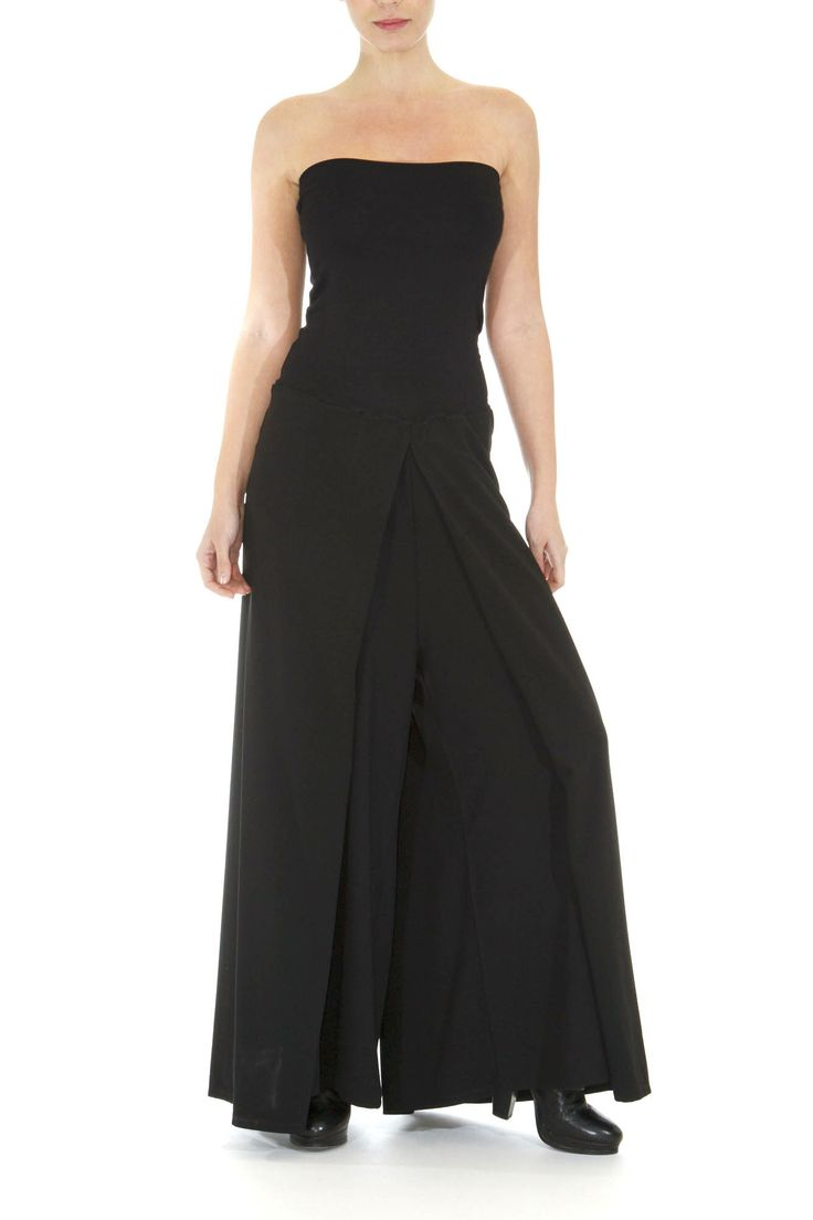 Playful pants Can also be worn as a jumpsuit Front and back pleats Ideal for fuller figures #greek4chic #pants #lavacaloca