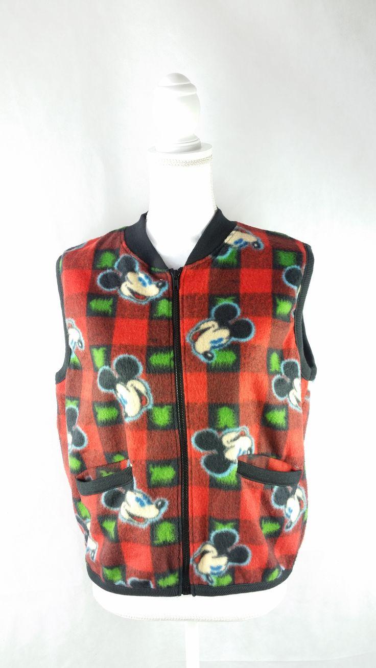 Vintage Mickey Mouse Fleece Vest Sz Small