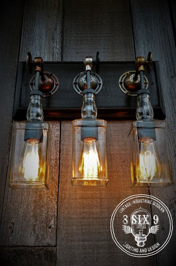 Steampunk Triple Upcycled Whiskey Bottle Wall by 8SIX9Design