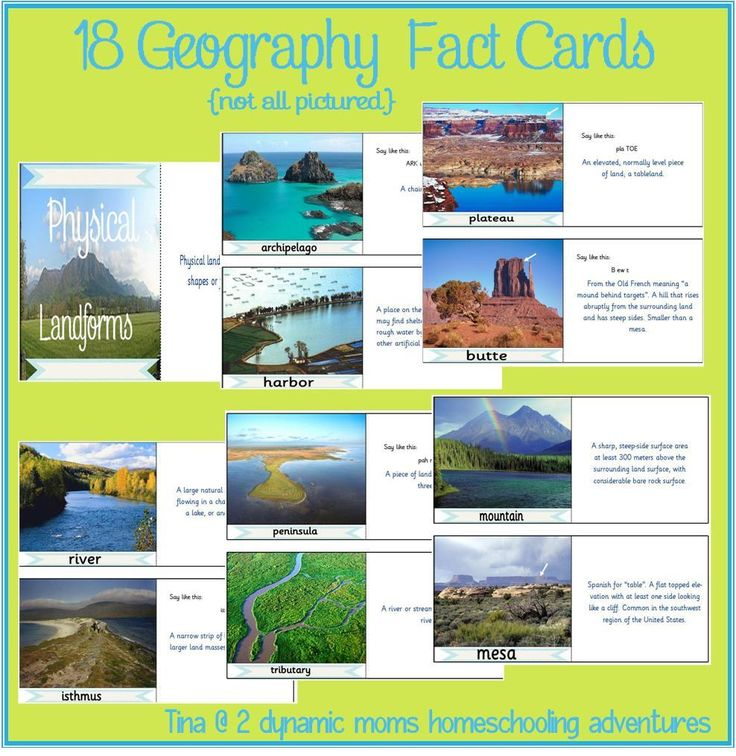 free printable geography fact cards to go with Runkle's World Physical Geography (or any geo curriculum)