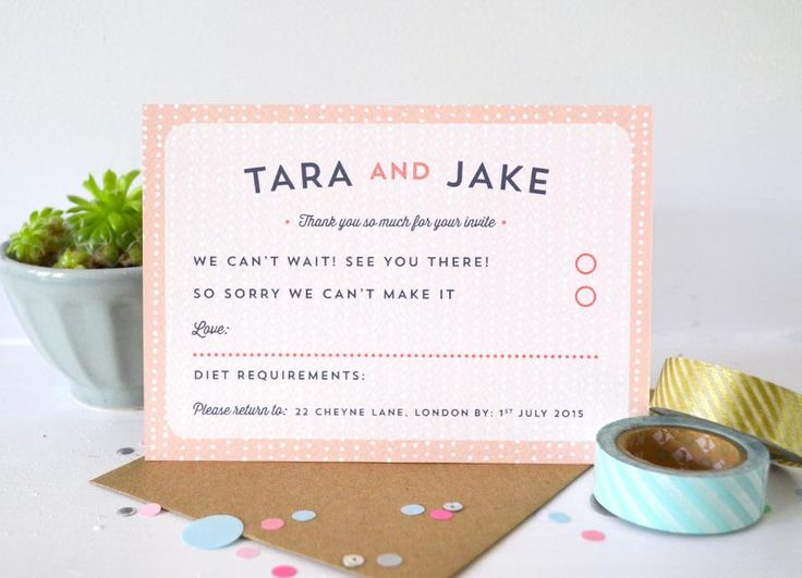 Sequin – RSVP card - pretty contemporary wedding stationery