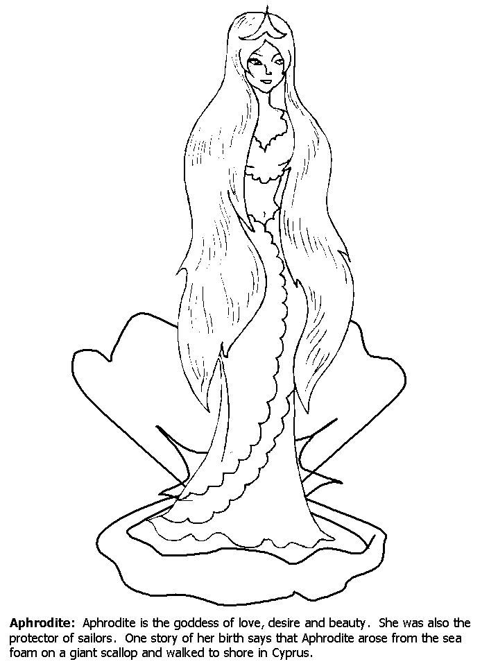 Aphrodite Greek Goddess Coloring Pages