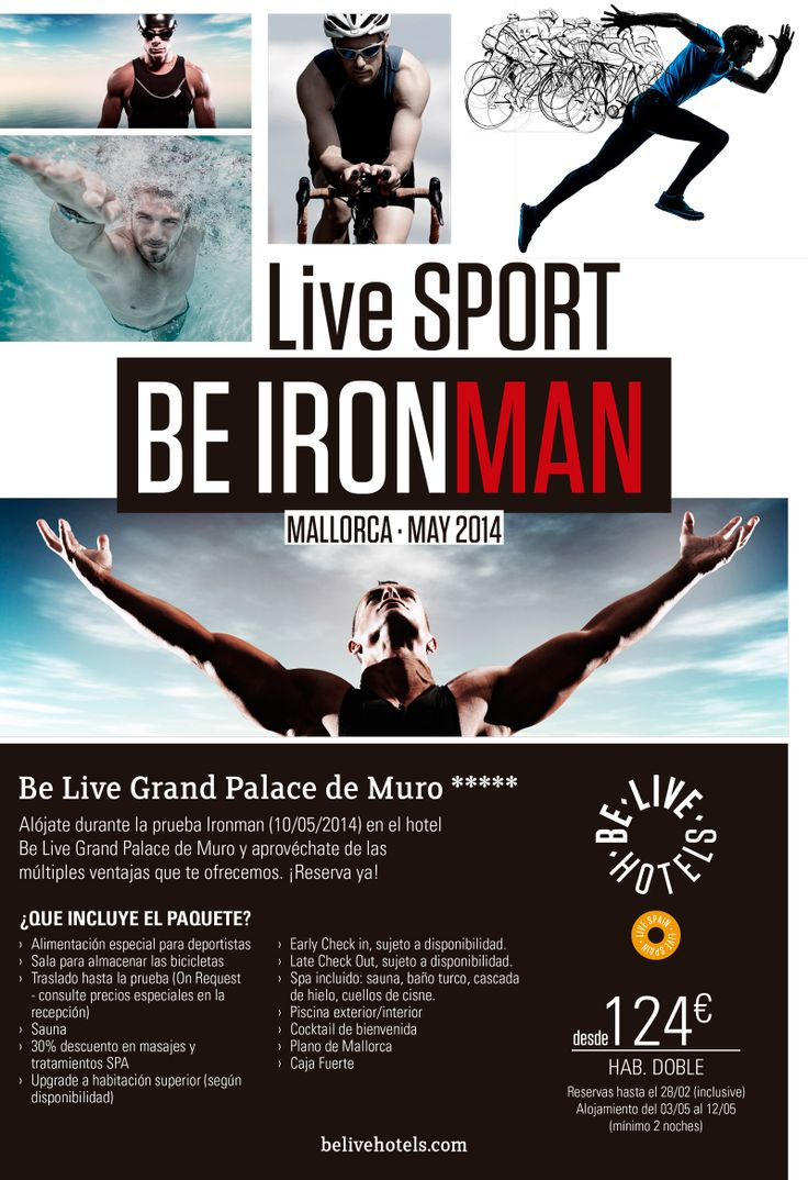 Alimentación especial para deportistas, sala para almacenar bicicletas, spa, descuentos en masajes y muchas más ventajas si te alojas en Be Live Grand Palace de Muro durante la prueba Ironman, desde 124 euros por noche. #BeIronMan