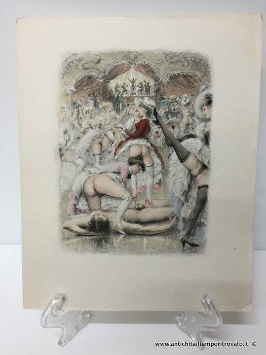Oggettistica d`epoca - Stampe e dipinti Incisioni di P. Emile Bécat - Antiche incisioni erotiche colorate Immagine n°1