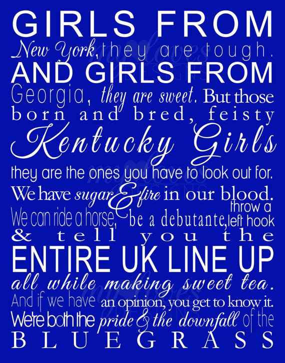 Instant Download Printable Digital Design - Kentucky Girls - 11x14 via Etsy