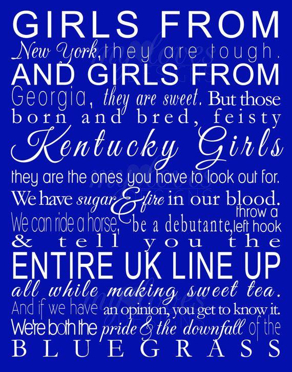 Instant Download Printable Digital Design - Kentucky Girls - 11x14 via Etsy