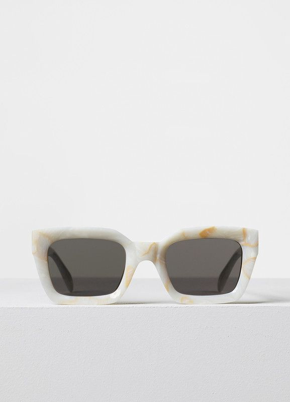 Kate Sunglasses in White Marble Acetate with Grey Blue Lenses - Céline