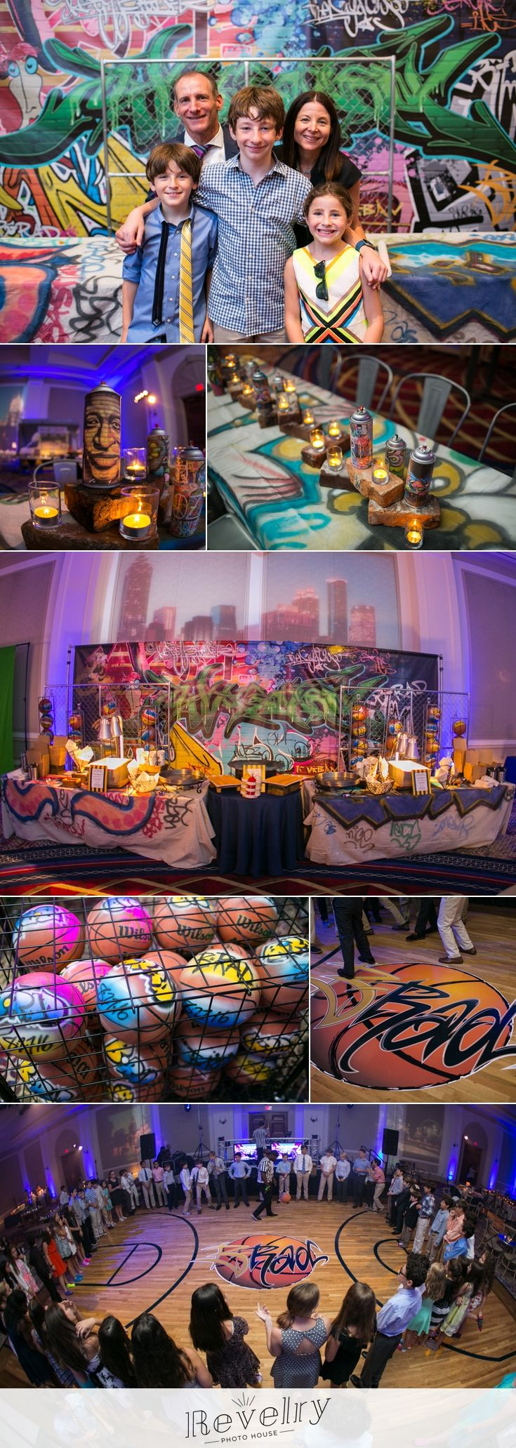 Bradley's graffiti mitzvah - featuring food truck themed food stations, custom tablecloths, and spray painted basketballs as favors