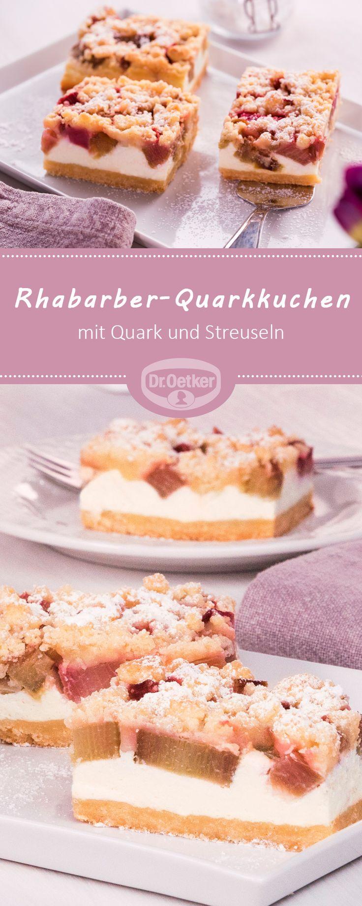 Rhabarber-Quarkkuchen: Rhabarber ist gut, Rhabarber mit Quark noch besser und Rhabarber mit Quark und Streuseln am besten #rhabarber #kuchen #quark