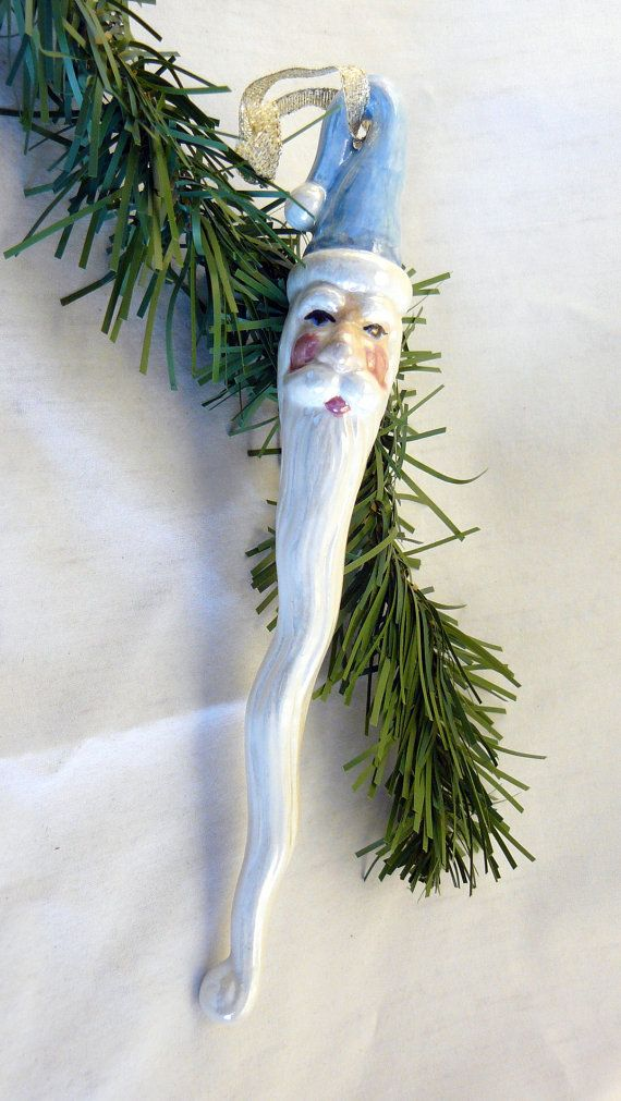 Keramische kerst Ornament Santacicle Set door GrapeVineCeramicsGft