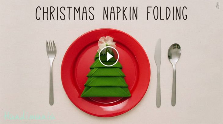 Un video tutorial con le istruzioni per piegare i tovaglioli a forma di albero di Natale. Un'idea carina e semplice per la tavola di Natale.