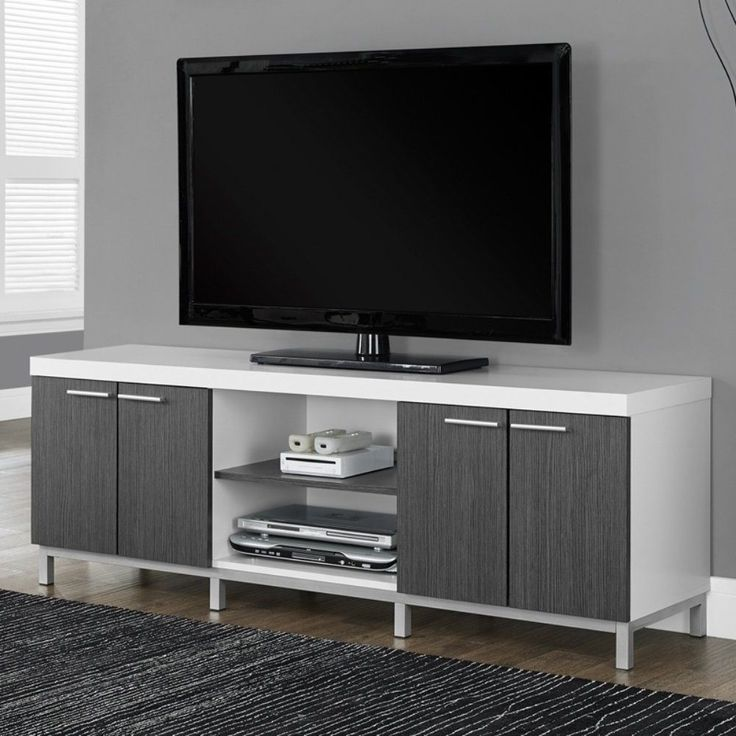 66 Inch TV Stand Media Console White Gray 2 Storage Cabinets Modern Living Room  #66InchTVStandMediaConsole #Modern