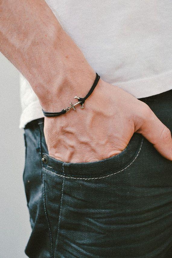 Bracelet cordon, bracelet homme, ancre argent charme, franges noires, bracelet d'ancrage pour homme, cadeau pour lui, bracelet marin, fermoir, mens bijoux
