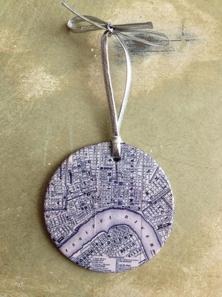Fleurty Girl - Everything New Orleans - Vintage NOLA Map Christmas Ornament - Home Accessories - For the Home