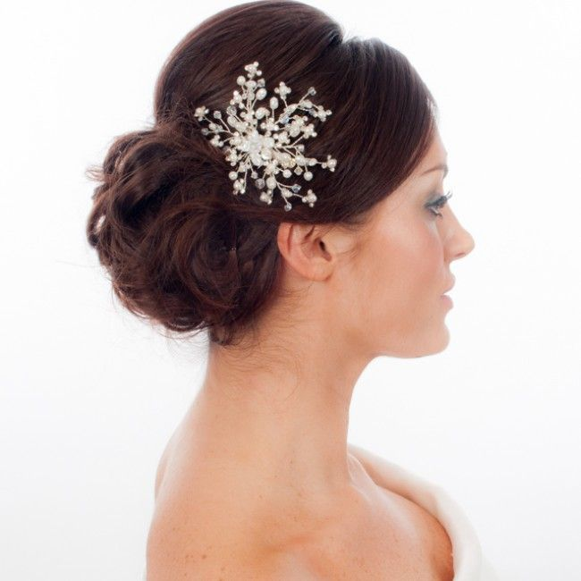 I love the hair piece for a winter wedding it looks like a snowflake!