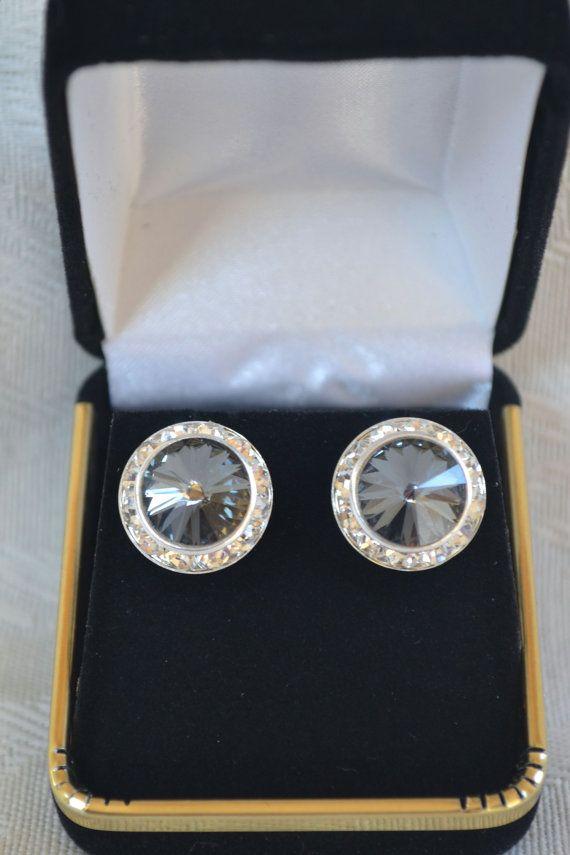 Swarovski Silver Night crystal earrings 16mm by CreativityAtPlay, $18.00