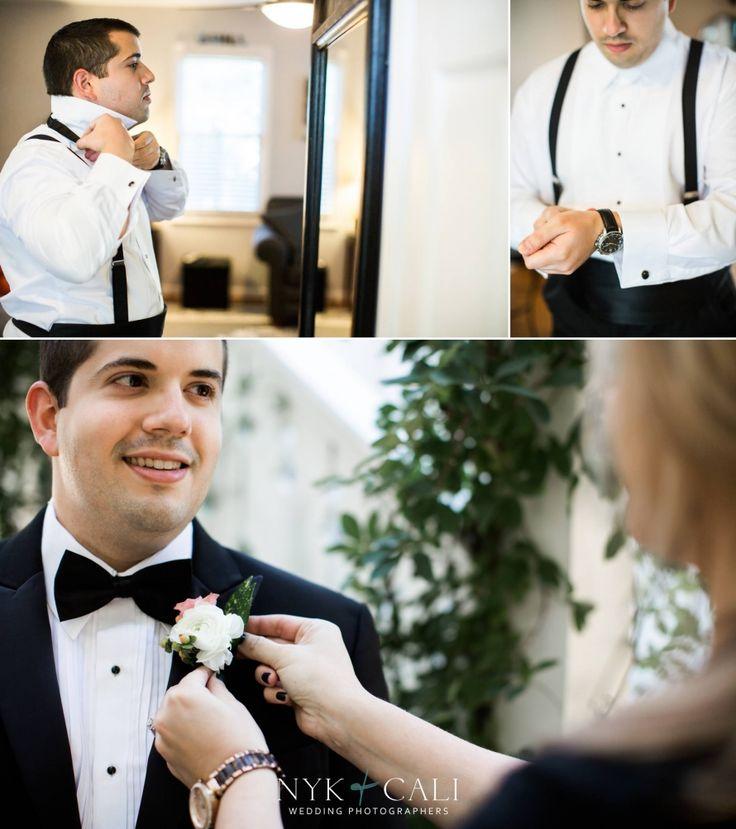 Nyk + Cali Wedding Photography | Nashville, TN | Historic Cedarwood | Wedding | Groom | Getting Ready | Black + White | Boutonnieres | Blush + Ivory |
