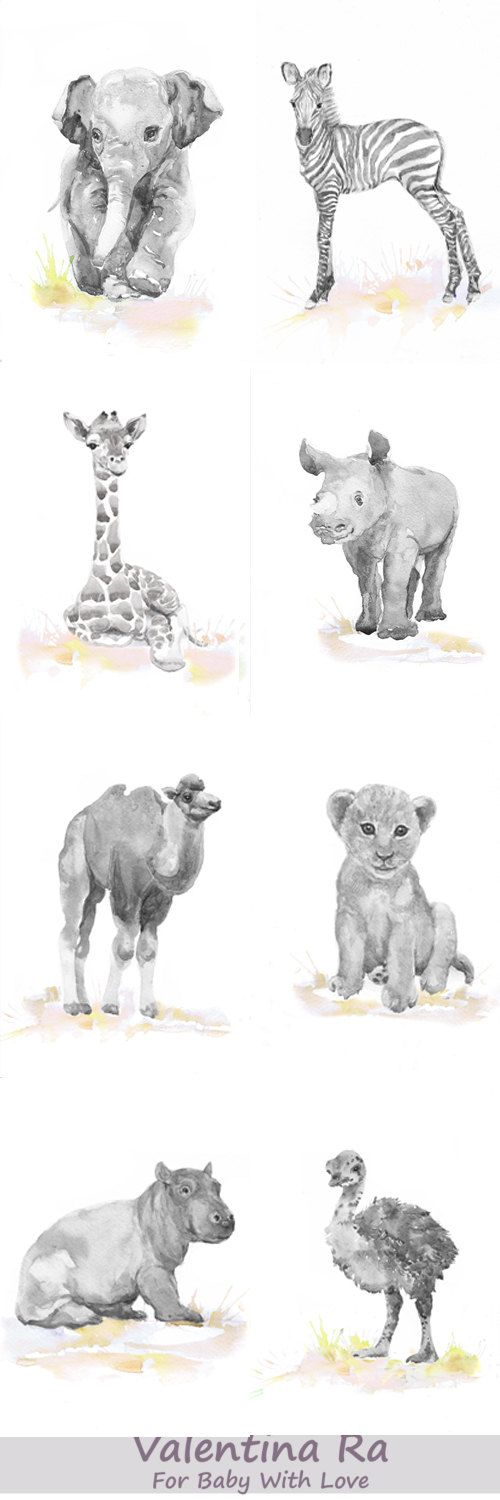 Neutral Nursery Set of 8 Prints Baby Animals Watercolor by ValrArt