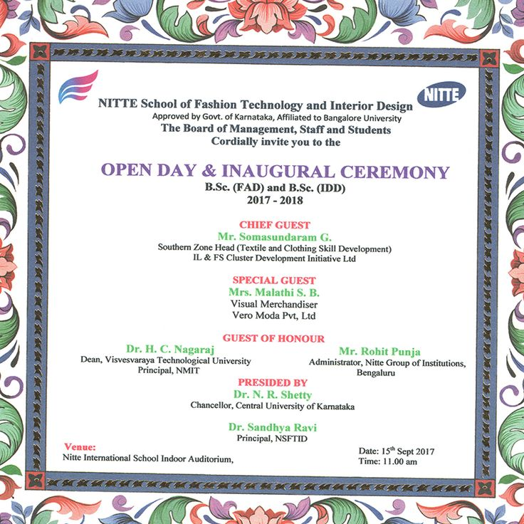 Rise up,start fresh see the bright opportunity in each new day..!! Cordially invite you all for our fresher open day and inaugural ceremony. @NITTE School of Fashion Technology & Interior Design  #Bangalore #InviteYouAll #Fresher #Inauguralceremony #Brightopportunity #Freshersday #Careergrowth