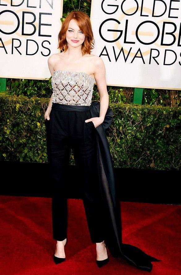 Mid-length hair, no bangs | Emma Stone at 72nd Annual Golden Globes