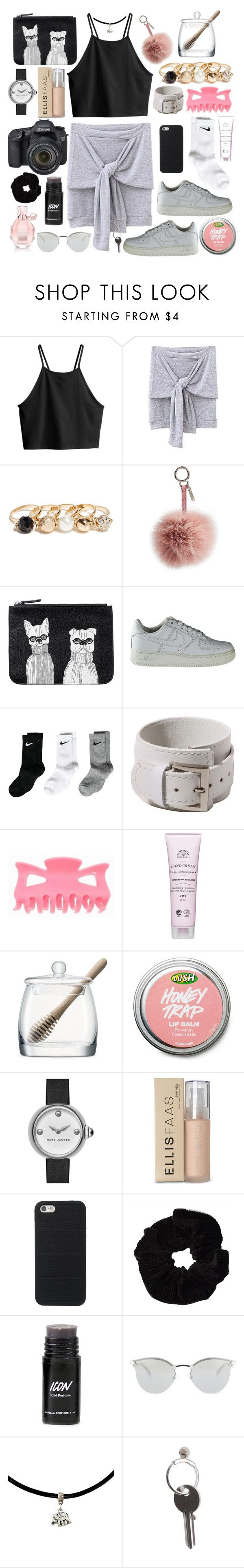 """""""Plush"""" by swanniboo on Polyvore featuring H&M, GUESS, Fendi, Monki, NIKE, LSA International, Marc by Marc Jacobs, Ellis Faas, Eos and Maison Margiela"""
