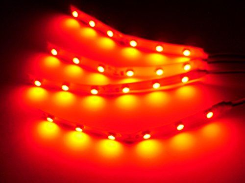 """4 Water resistant, not Waterproof 4"""" Red LED Strips 6 Superbright LEDs per strip. Fully tested (No DOA)"""