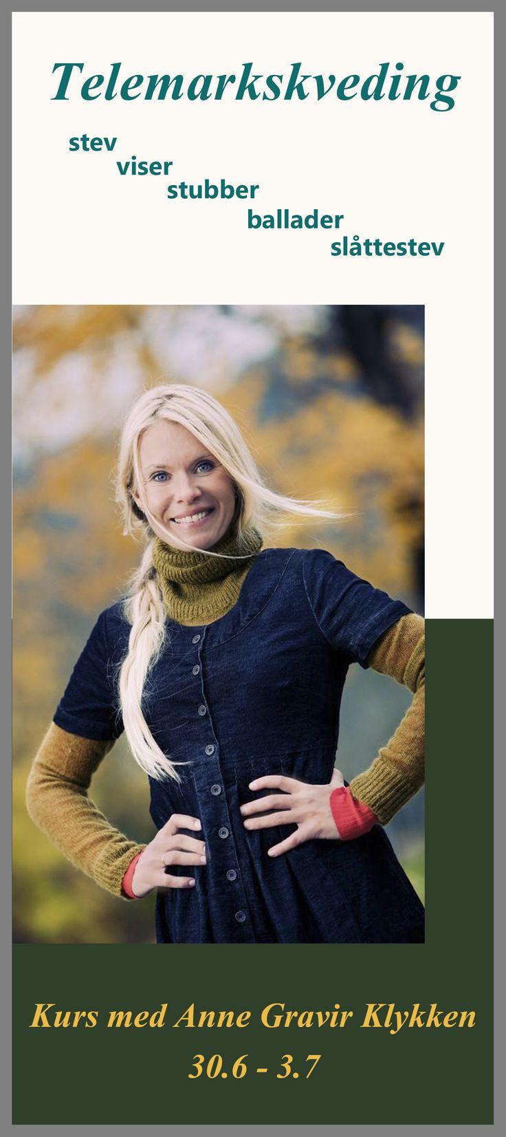 Bli med å synge med Anne. Ho tar med seg et bredt utvalg av Telemarks tradisjonelle songar frå korte stev og stubbar til lange middelalders ballader. Kveding er noe alle borde få prøvd seg på!